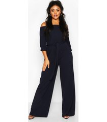 plus off shoulder tailored self belt jumpsuit, navy