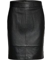 francie mini leather skirt kort kjol svart second female