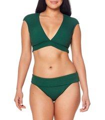 women's bleu by rod beattie walk the line crop bikini top, size 4 - green