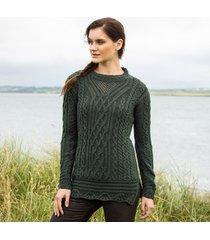 the lismore army green aran tunic medium