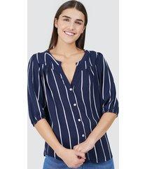 blusa mujer estampado rayas verticales color azul, talla 10