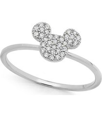 0.33ct diamond real 925 silver disney mickey mouse icon cluster engagement ring