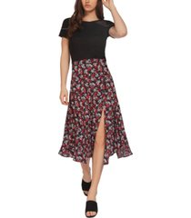 black tape floral midi skirt
