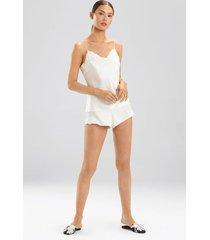 ava cami pajamas, women's, white, 100% silk, size l, josie natori
