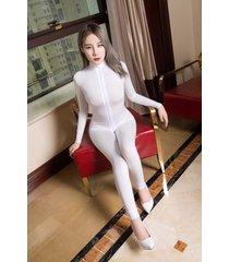 women shiny 2 two way zipper open crotch bust transparent lingerie bodysuit wt