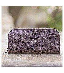 tooled leather wallet, 'flowers of ubud in brown' (indonesia)