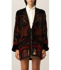 etro cardigan etro cardigan in velvet with paisley pattern