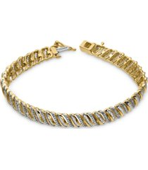 diamond angled link bracelet (2 ct. t.w.) in 10k gold