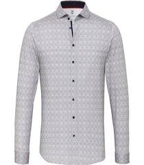 desoto overhemd licht gewoven ruit print cutaway slim fit grijs