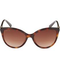 swarovski women's faux tortoiseshell 55mm cat eye sunglasses - dark havana
