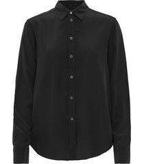 classic silk shirt overhemd met lange mouwen zwart filippa k