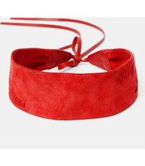 leather sash flowers - red - u