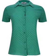 camisa puntos m/c color verde, talla m