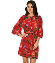 ax paris floral print tie front shift dress