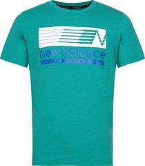 graphic heathertech t t-shirts short-sleeved grön new balance