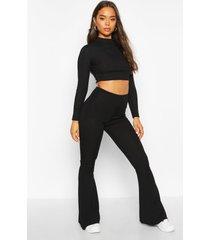 basic geribbelde skinny fit broek met hoge taille en wijd uitlopende pijpen, zwart