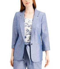 bar iii chambray linen one-button blazer, created for macy's