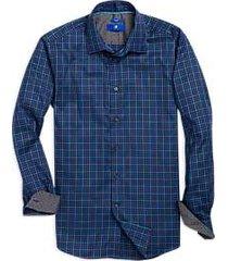 egara blue & black plaid sport shirt