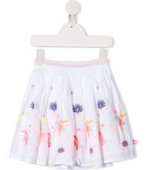 billieblush ruched-waistband embroidered skirt - white