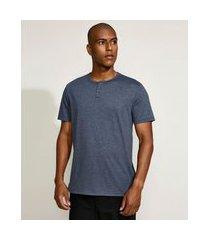 camiseta masculina básica manga curta gola padre azul