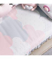 edredom beb㪠nuvem de algodã£o rosa estampado grã£o de gente rosa - rosa - menina - dafiti