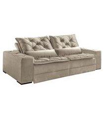 sofá 3 lugares retrátil e reclinável dallas i veludo capuccino