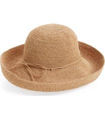 women's helen kaminski 'provence 12' packable raffia hat - brown