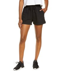 zella washed organic cotton shorts, size x-large in black at nordstrom