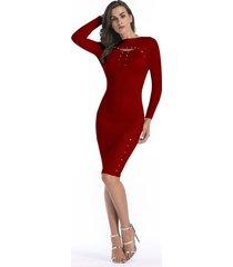 vestido de punto de manga larga otoño invierno delgado para vestido mujer