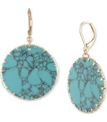 lonna & lilly gold-tone & colored disc drop earrings