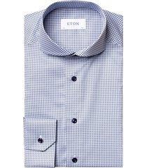 slim fit mini-overhemd met bloemenprint en blauwe knopen