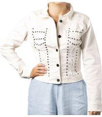 chaqueta de mujer blanca con taches cosmos