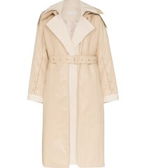 low classic belted cotton trench coat - neutrals