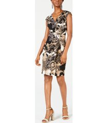 connected printed zip wrap dress