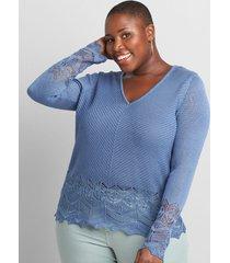 lane bryant women's pointelle-stitch pullover sweater 10/12 moonlight blue