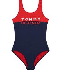 tommy hilfiger badpak girls - blauw/rood