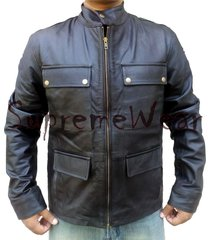 handmade new men strap four pockets stylish leather jacket, leather jacket for m