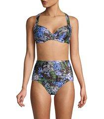 botanical & cheetah-print halter bikini top