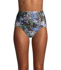 botanical & cheetah-print pleated bikini bottom