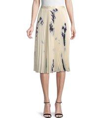 wdny women's accordion pleated knee-length skirt - cream black - size m