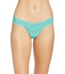 hanky panky signature lace low rise thong in bright aqua blue at nordstrom