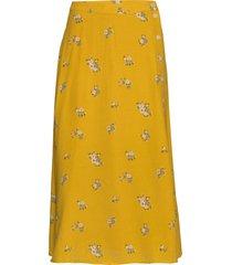 floral side-button midi skirt lång kjol gul gap