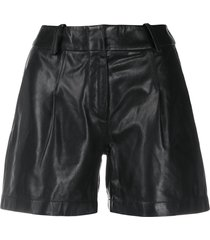 arma high rise leather shorts - black