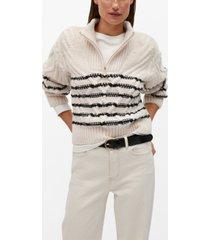 mango women's contrasting knit sweater