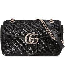 gucci gg marmont sequin shoulder bag - black