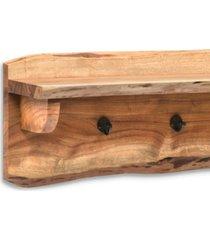 "alpine natural live edge wood 36"" coat hooks with shelf"