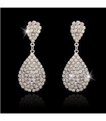 moda orecchio goccia orecchio anelli argento oro goccia d'acqua flash strass orecchio anelli gioielli eleganti per le donne