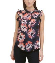 dkny petite floral-print ruffled sleeveless blouse