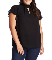 plus size women's 1.state keyhole flutter sleeve blouse, size 3x - black