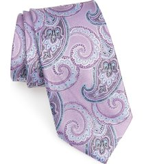men's nordstrom men's shop paisley silk tie, size regular - purple